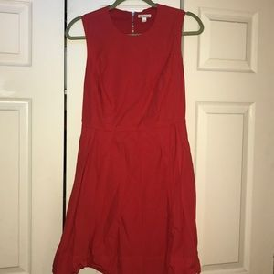 Gap fit and flare red orange dress with pockets